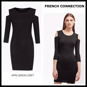 FRENCH CONNECTION COLD SHOULDERS KNIT MINI DRESS